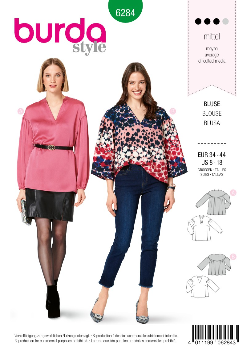 Burda Style Pattern 6284 Misses' Tunic or Blouse, Loose-Fitting, in Two Lengths