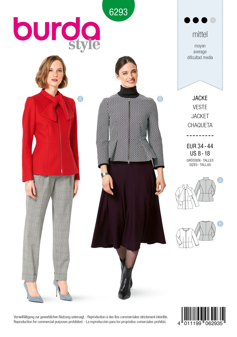 Burda Style Pattern 6293 Misses' Peplum Jackets with Zipper Closure