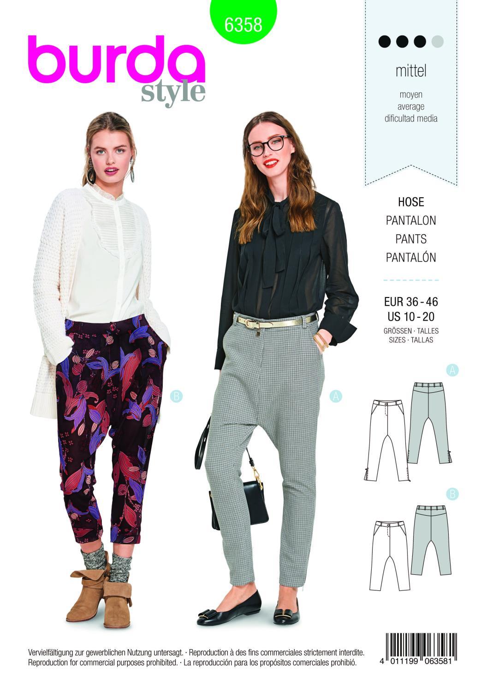 Burda Style Pattern B6358 Women's Trousers