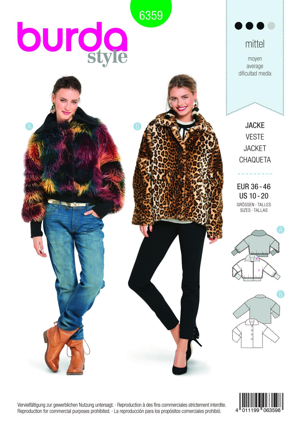 Burda Style Pattern B6359 Women's Fur Coat