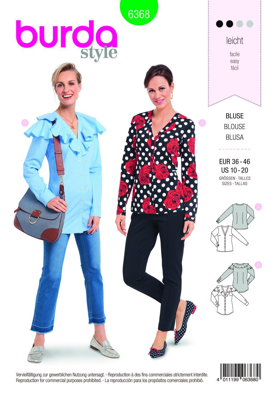 Burda Style Pattern B6368 Women's Tops