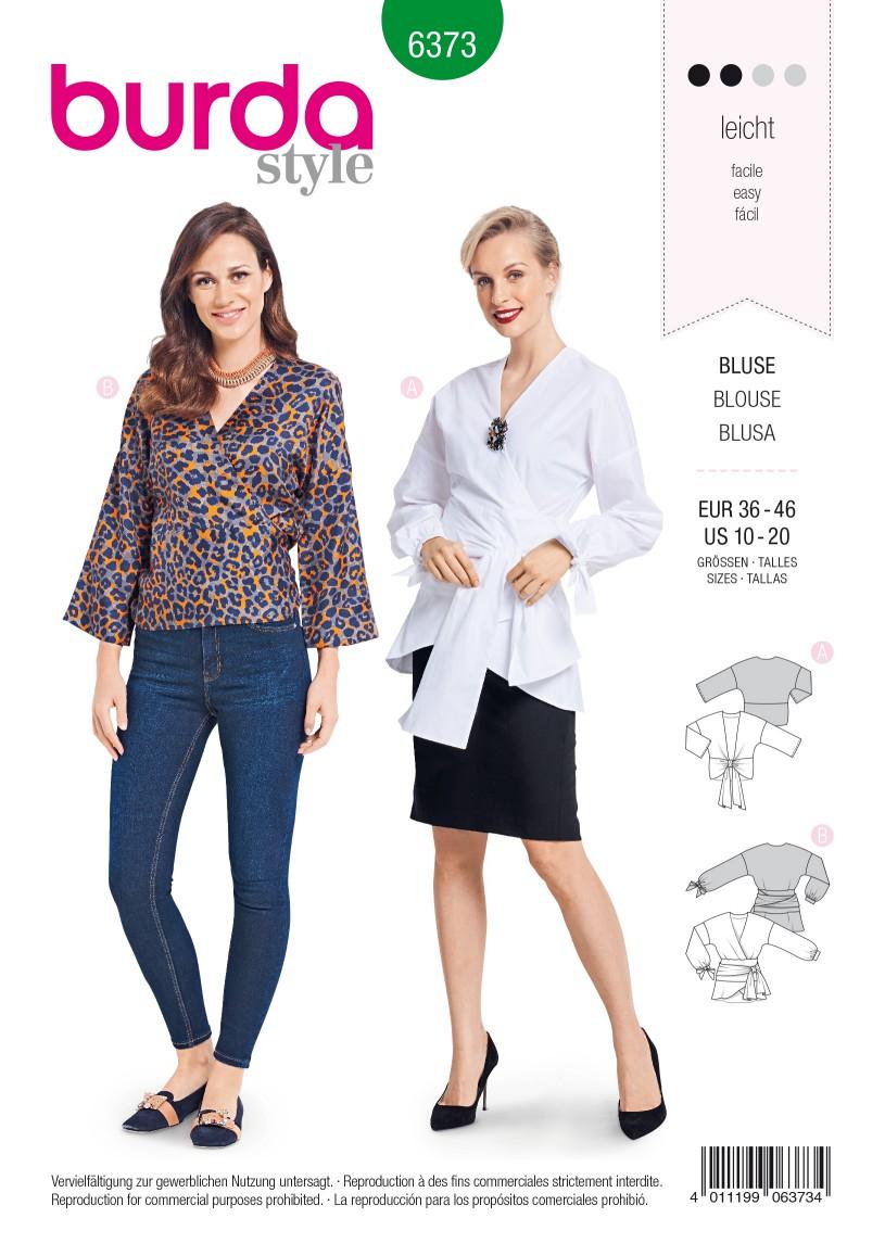 Burda Style Pattern B6373 Women's Wrap Blouse