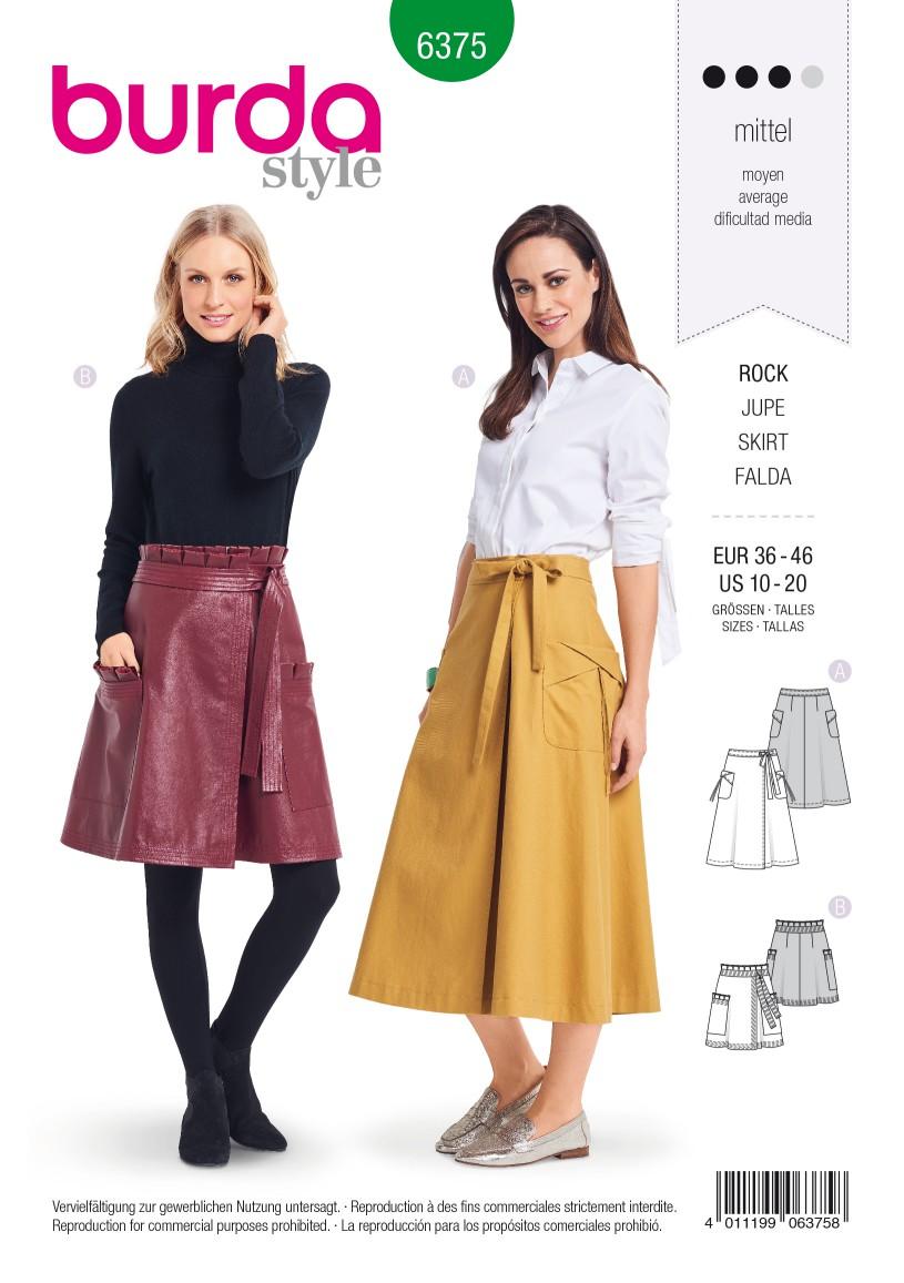 Burda Style Pattern B6375 Women's Wrap Skirt