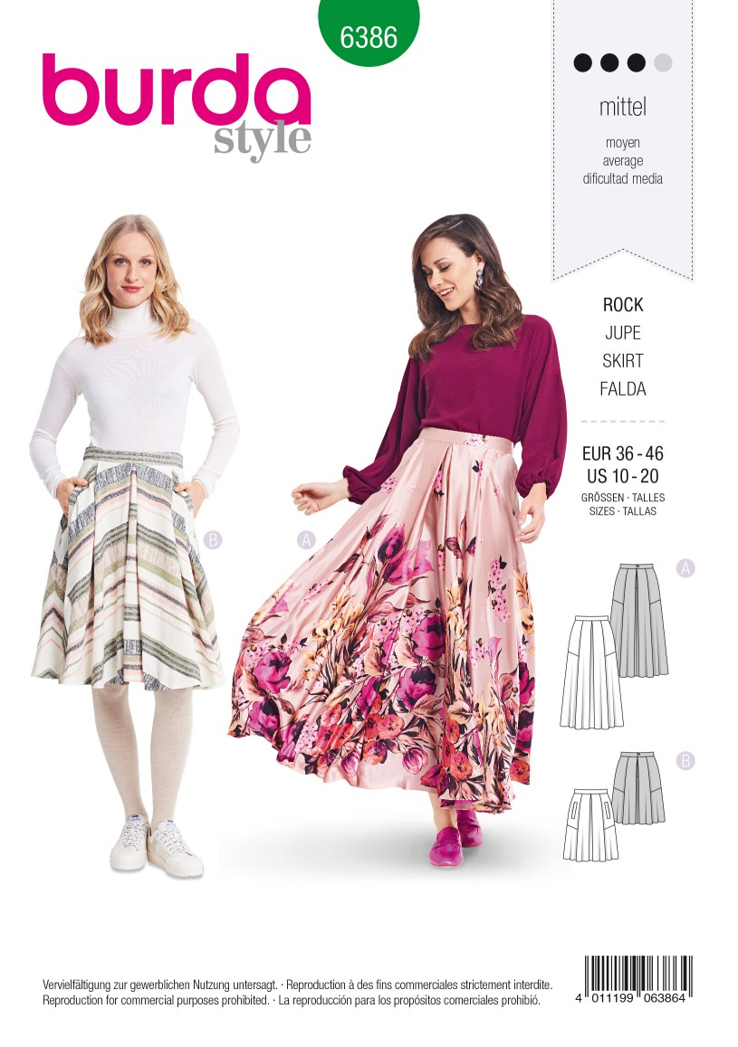 Burda Style Pattern B6386 Women's Full Skirt