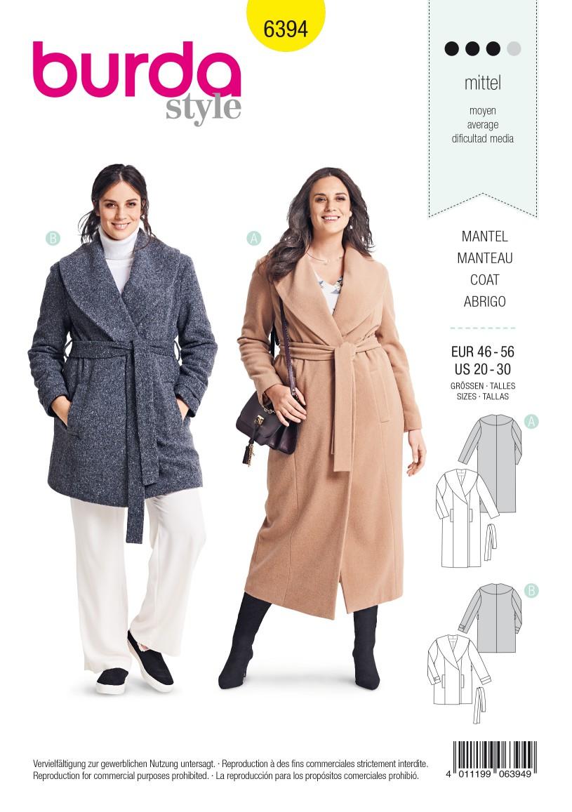 Burda Style Pattern B6394 Women's Wrap Coat