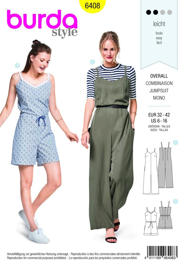 Burda Style Pattern B6408 Misses Jumpsuit in Various Lengths