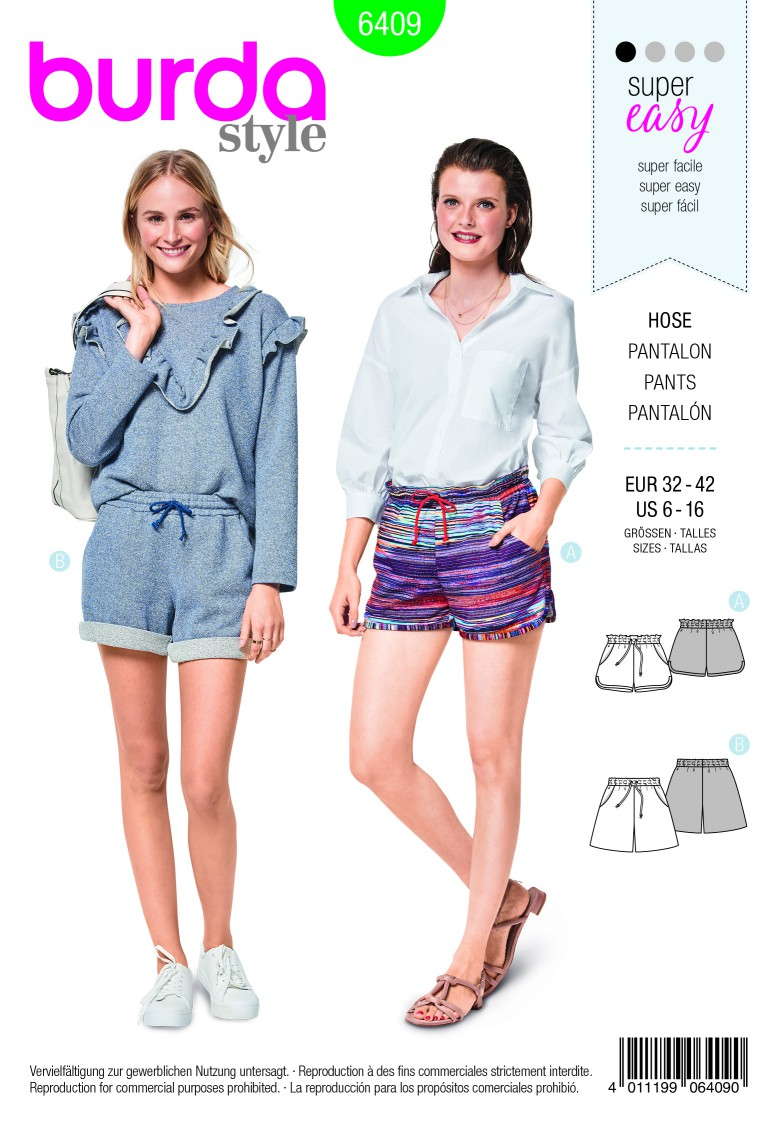 Burda Style Pattern B6409 Misses Shorts with Pockets