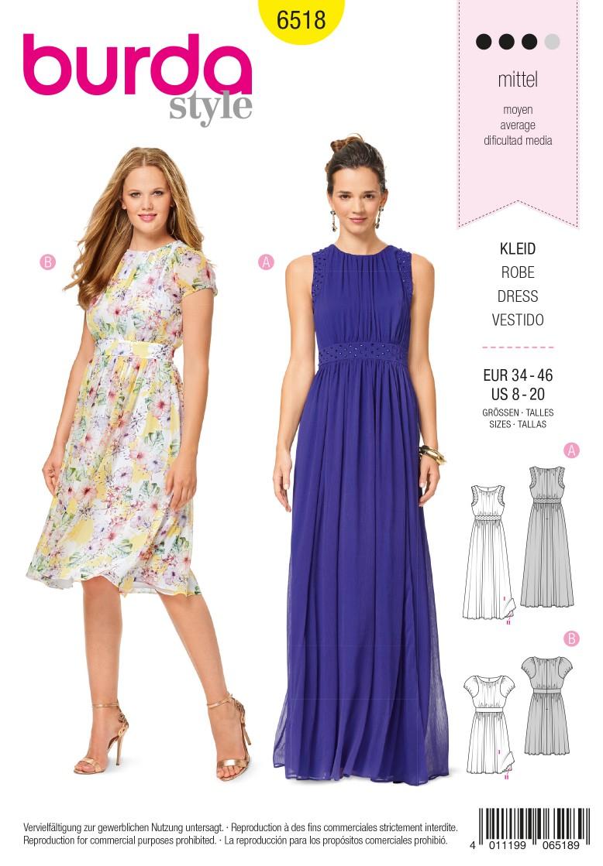 Burda Style Pattern B6518 Women's' Two Layered Dress