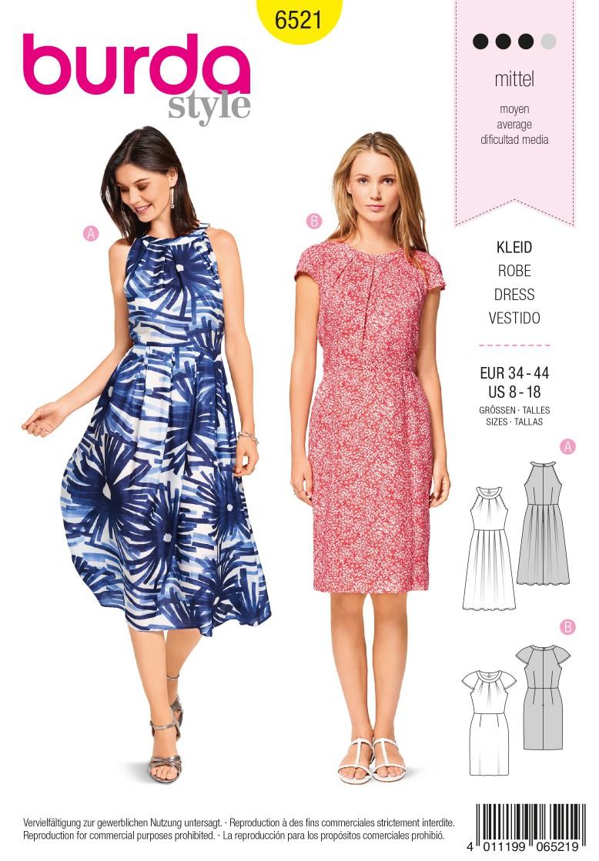 Burda Style Pattern B6521 Women's' Dress with Sleeves