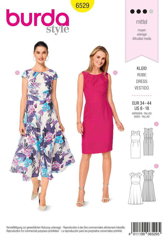 Burda Style Pattern B6529 Women's' Short Sleeve Dress