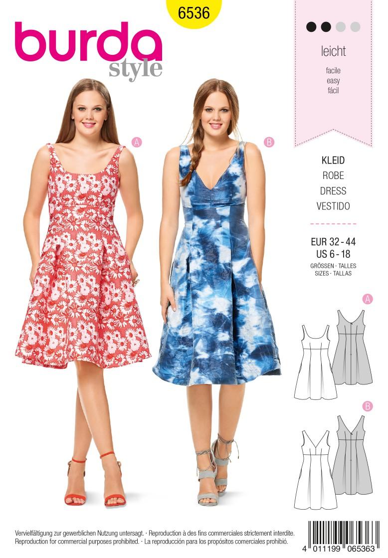 Burda Style Pattern B6536 Women's' High Waist  Dress