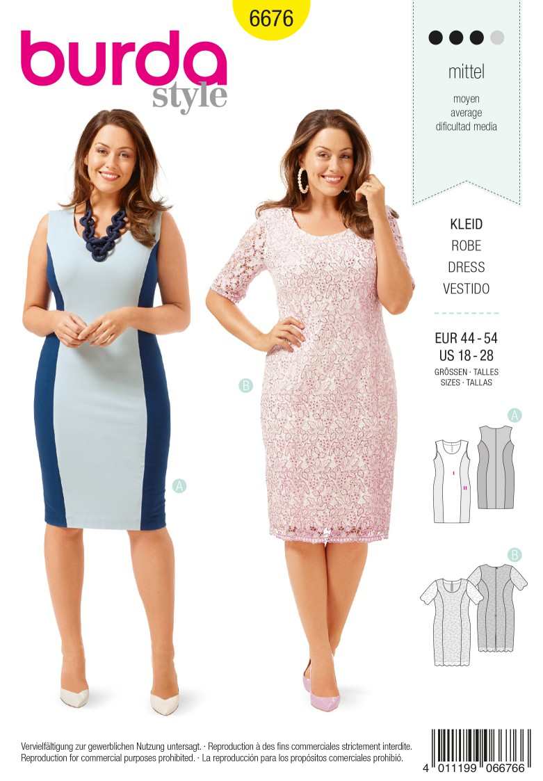 Burda B6676 Women's Dress Sewing Pattern