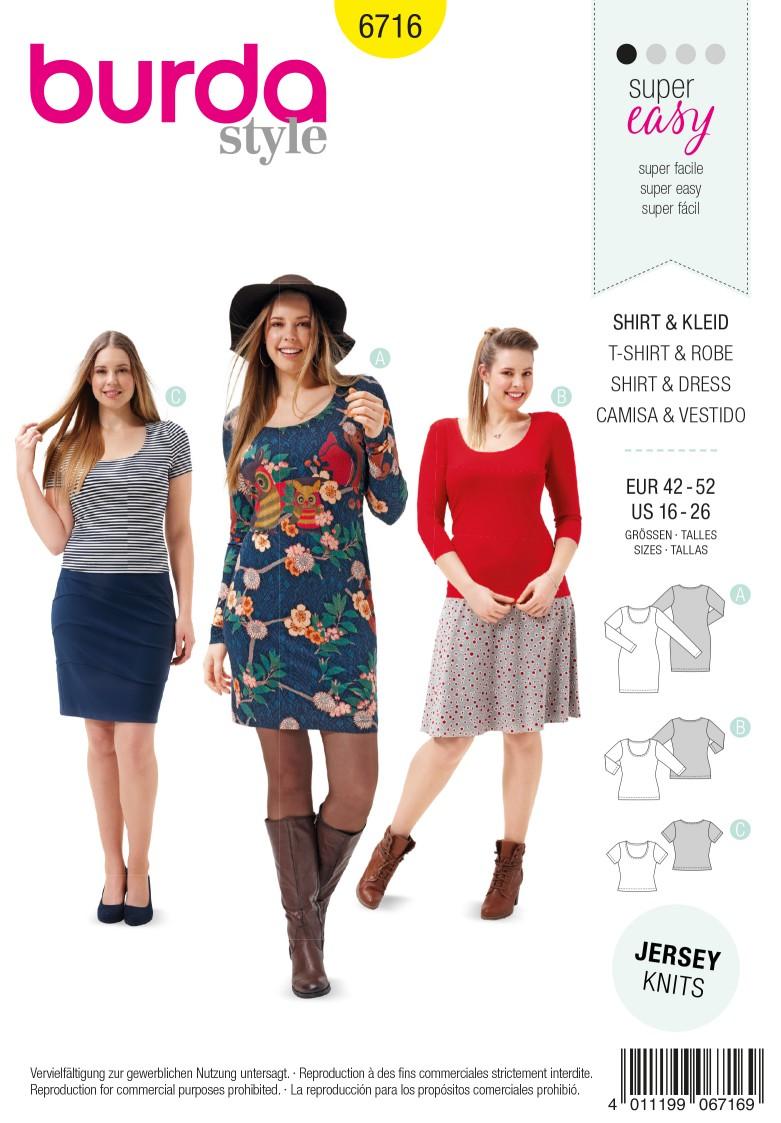 Burda B6716 Women's and Plus Size Shirt Dress Sewing Pattern