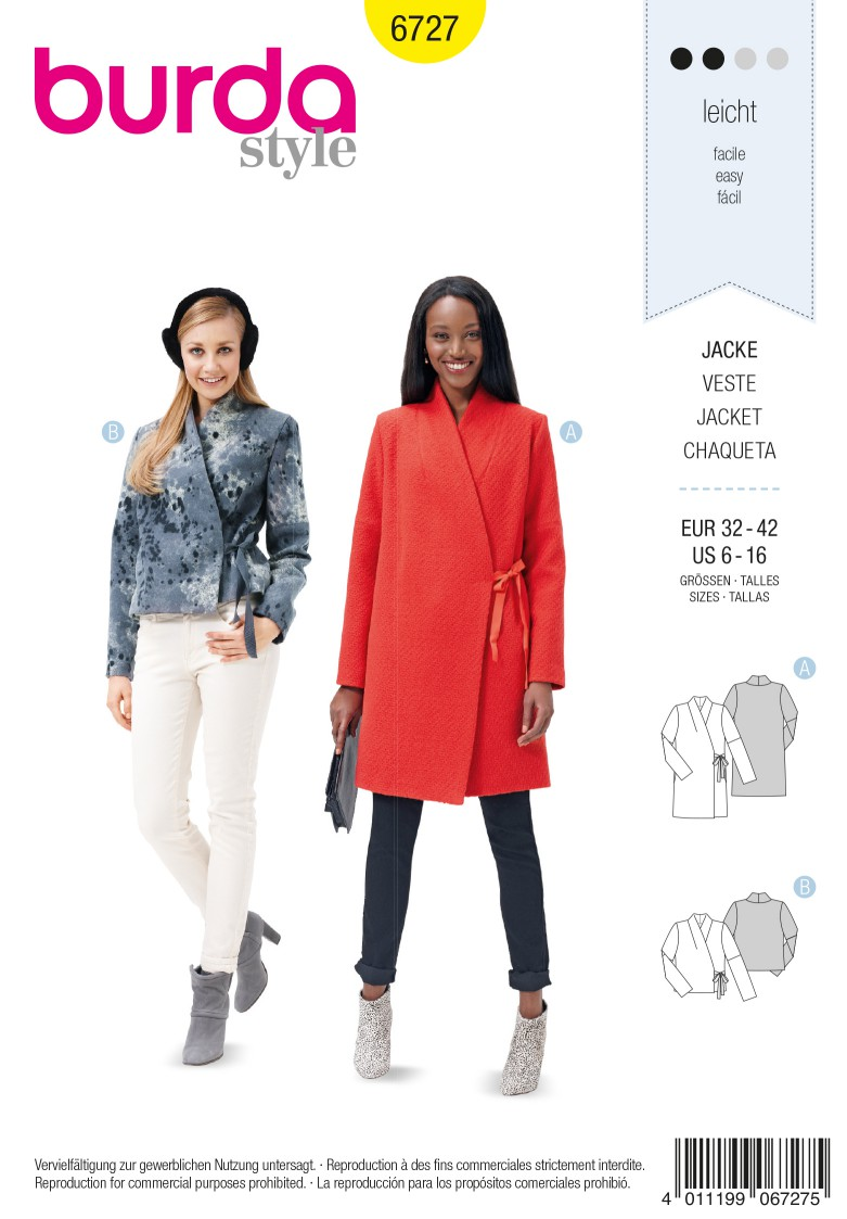 Burda B6727 Women's Jacket Sewing Pattern