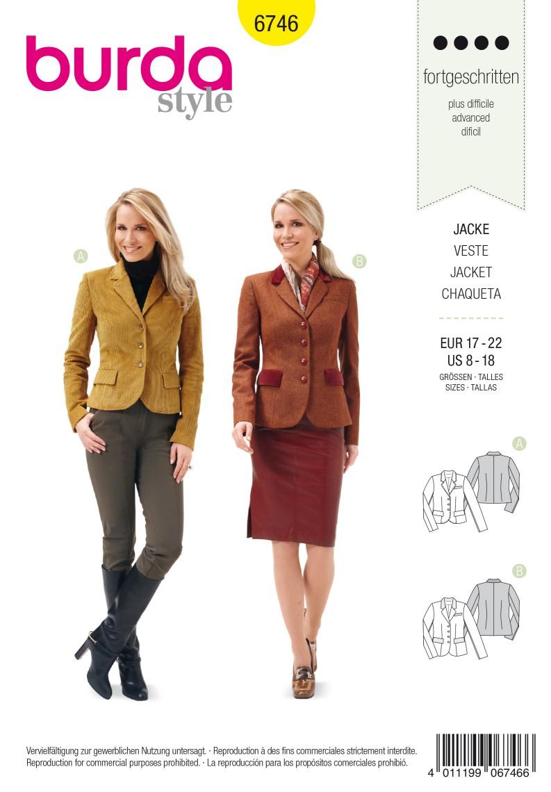 Burda B6746 Women's Blazer Jacket Sewing Pattern