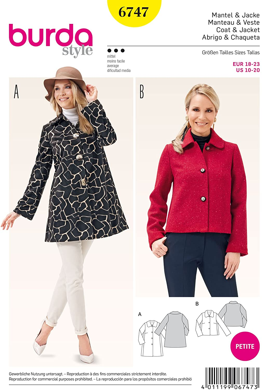 Burda B6747 Women's Jacket Sewing Pattern