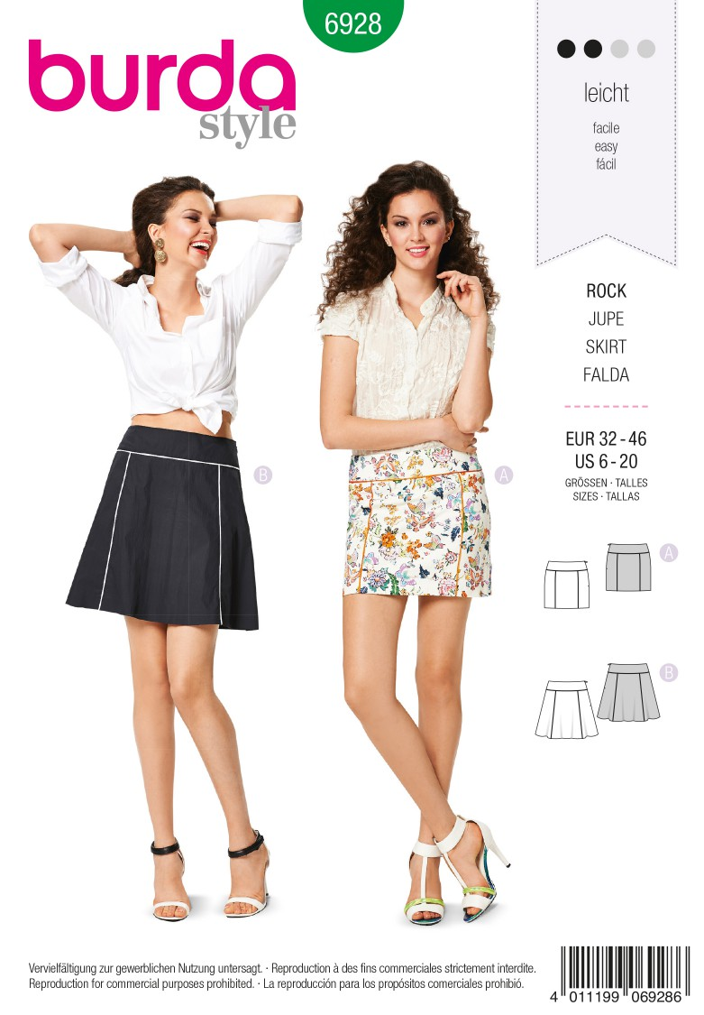 Burda B6928 Burda Style Skirts Sewing Pattern
