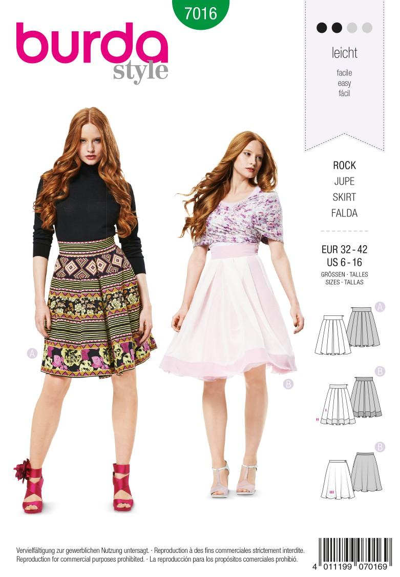 Burda B7016 Burda Style Skirt Sewing Pattern