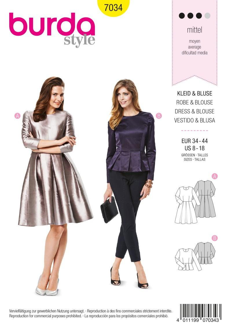 Burda B7034 Burda Style Dress & Blouse Sewing Pattern