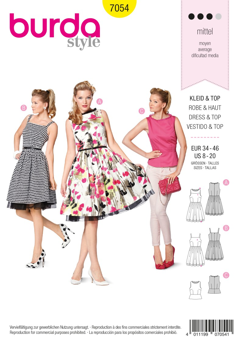 Simplicity B7054 Dress & Top Sewing Pattern