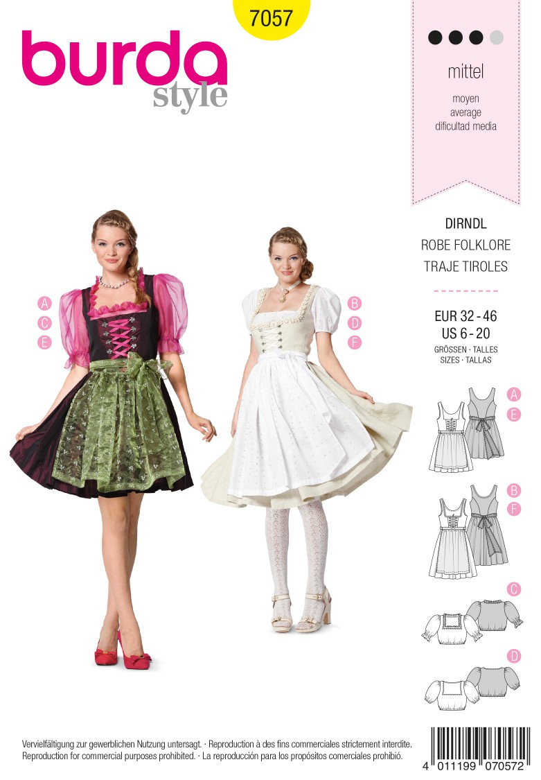 Burda B7057 Burda Style Folklore Dress Sewing Pattern