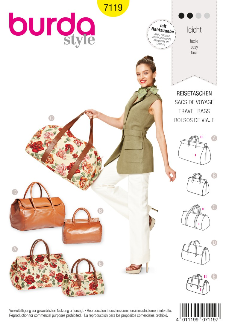 Burda Style B7119 Travel Bags Sewing Pattern