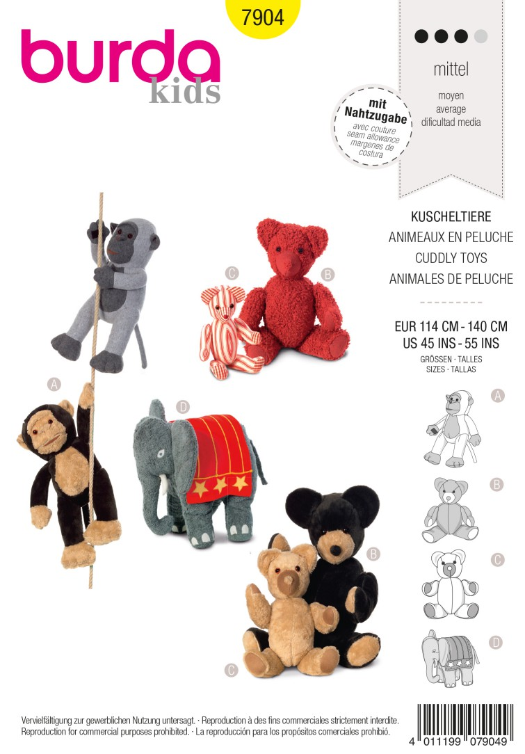 Burda B7904 Cuddly Toy Sewing Pattern