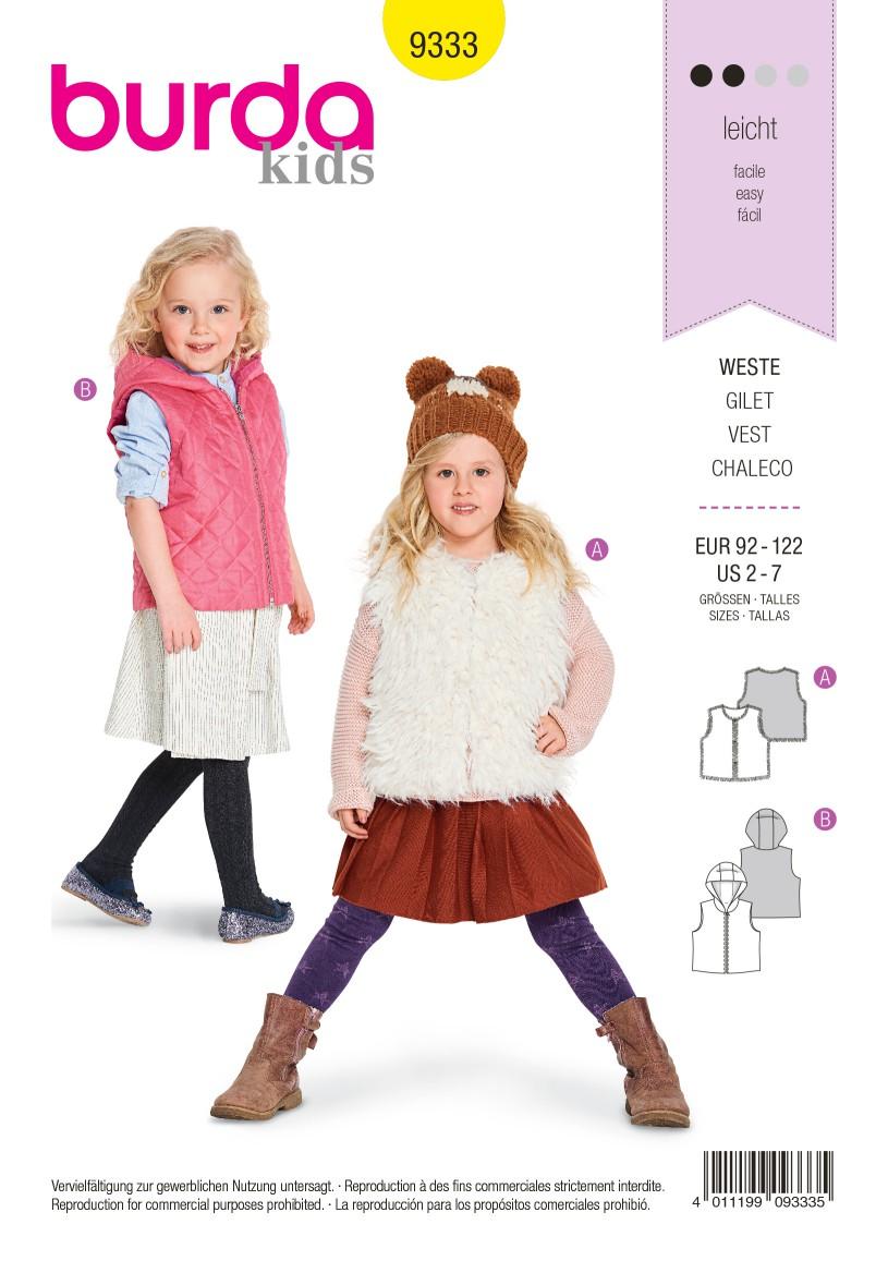 Burda Style Pattern B9333 Child's Fur Vest
