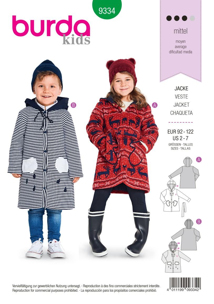 Burda Style Pattern B9334 Child's Hodded Jaceket
