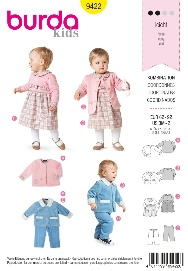 Burda Style B9422 Baby Sewing Pattern
