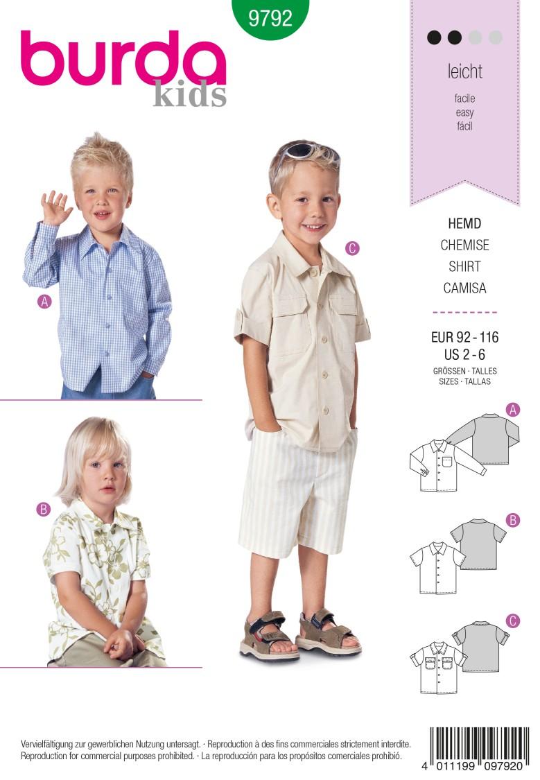 Burda B9792 Shirt Sewing Pattern