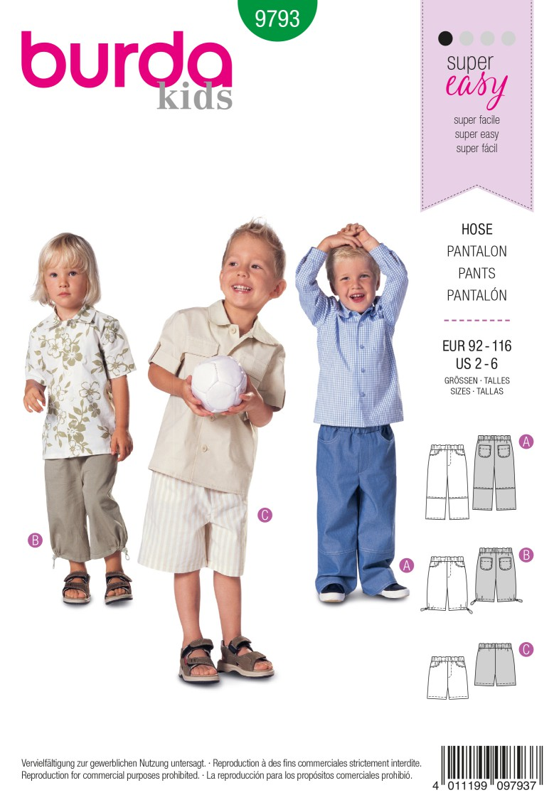 Burda B9793 Trousers Sewing Pattern