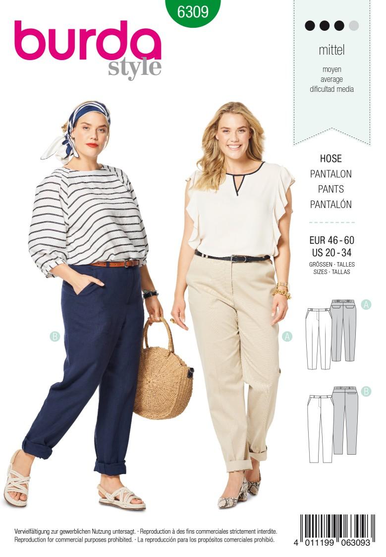 Burda Style Pattern 6309 Women's back elastic pants
