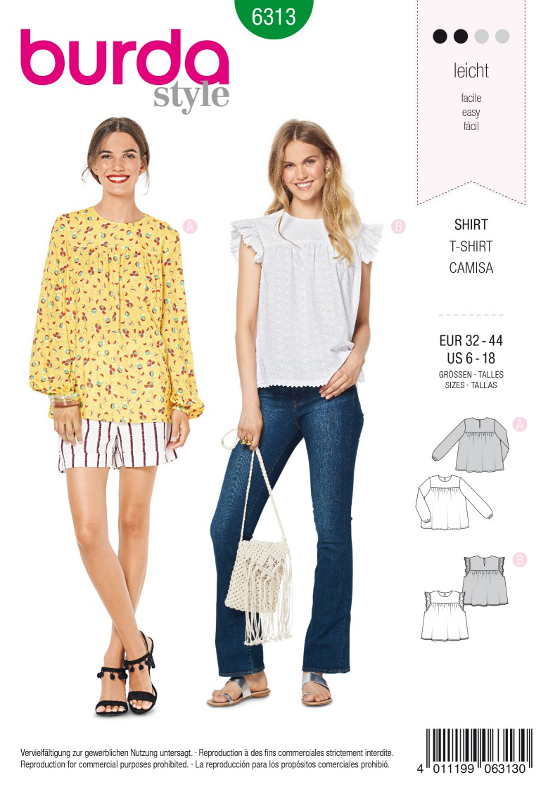 Burda Style Pattern 6313 Misses' babydoll top