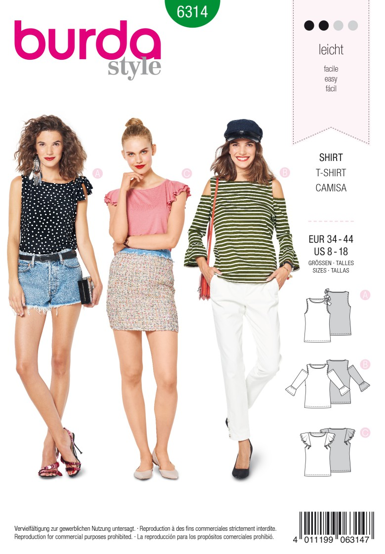 Burda Style Pattern 6314 Misses' top with sleeve frills