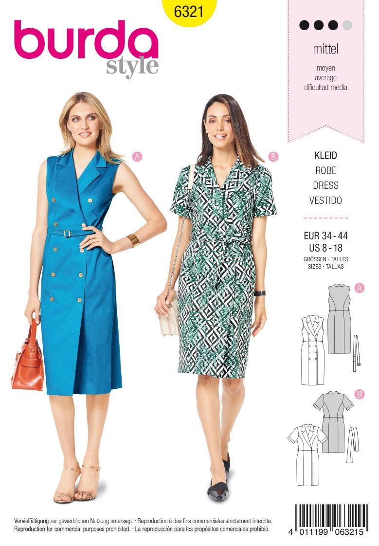 Burda Style Pattern 6321 Misses' dress with lapels