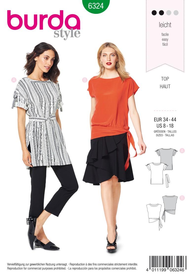 Burda Style Pattern 6324 Misses' side tie top