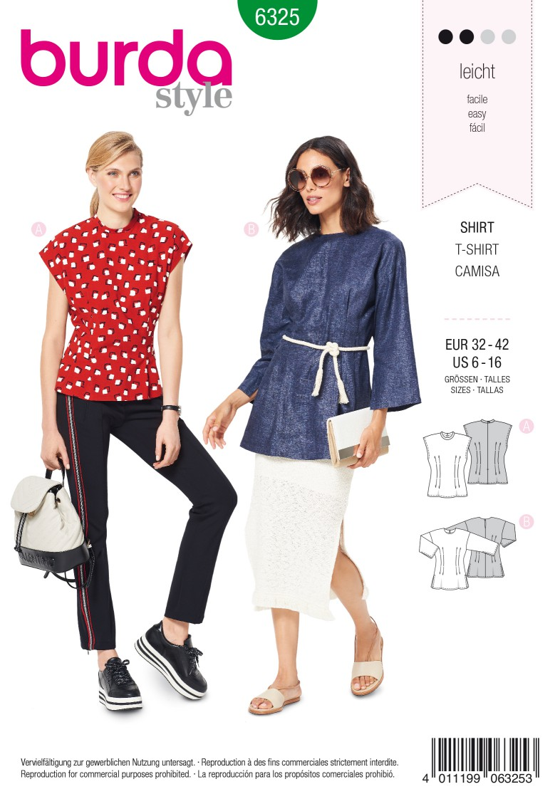 Burda Style Pattern 6325 Misses' top with fitted waist