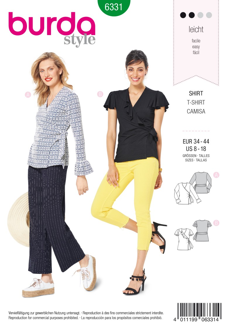 Burda Style Pattern 6331 Misses' wrap top