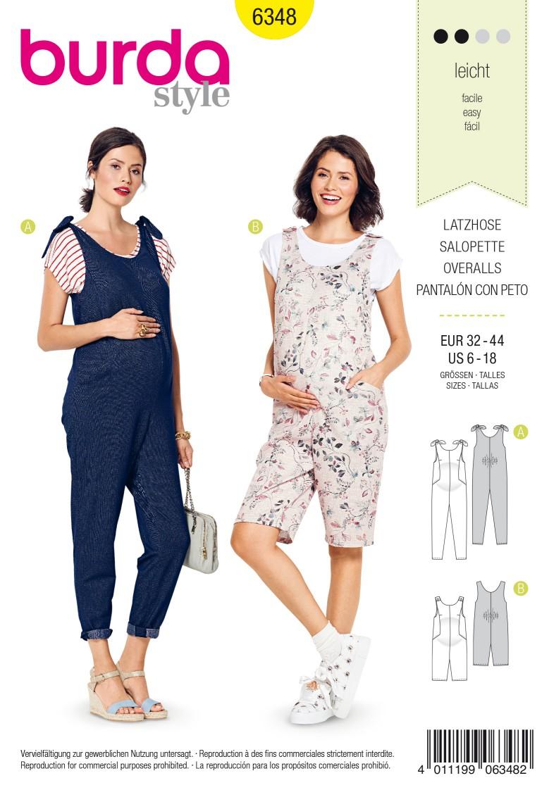 Burda Style Pattern 6348 Misses maternity overalls