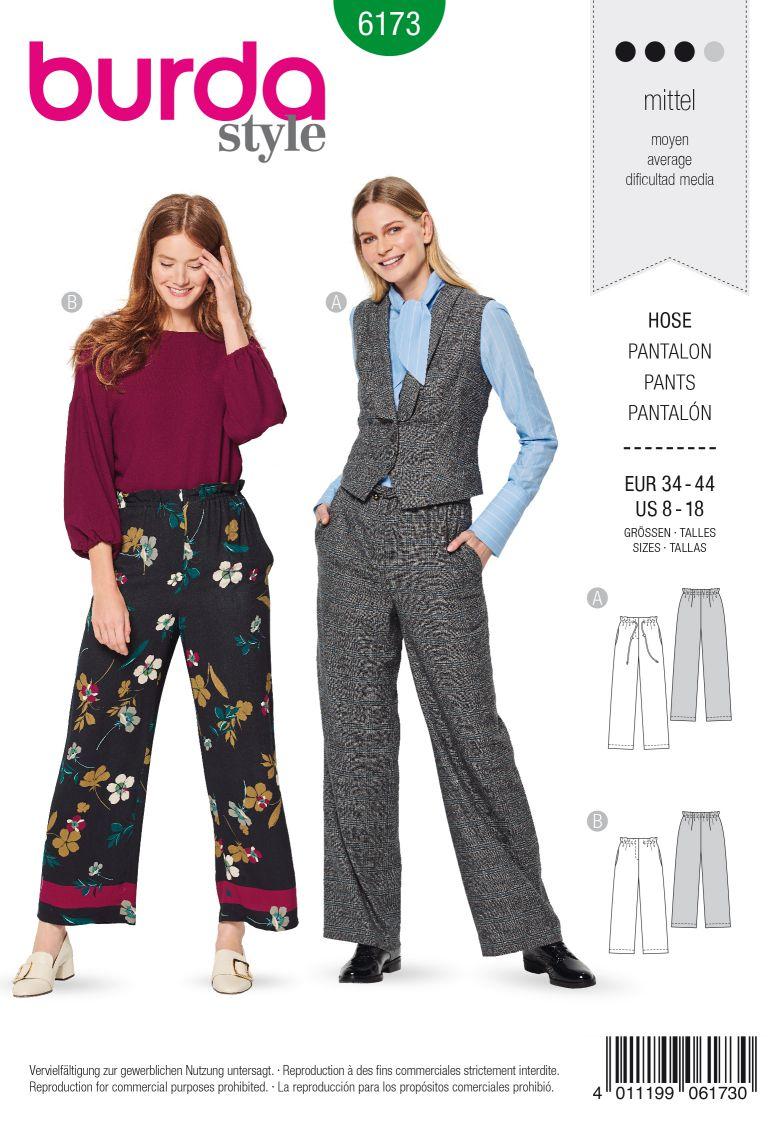 Burda 6173 AB Pants with drawstring or elastic casing