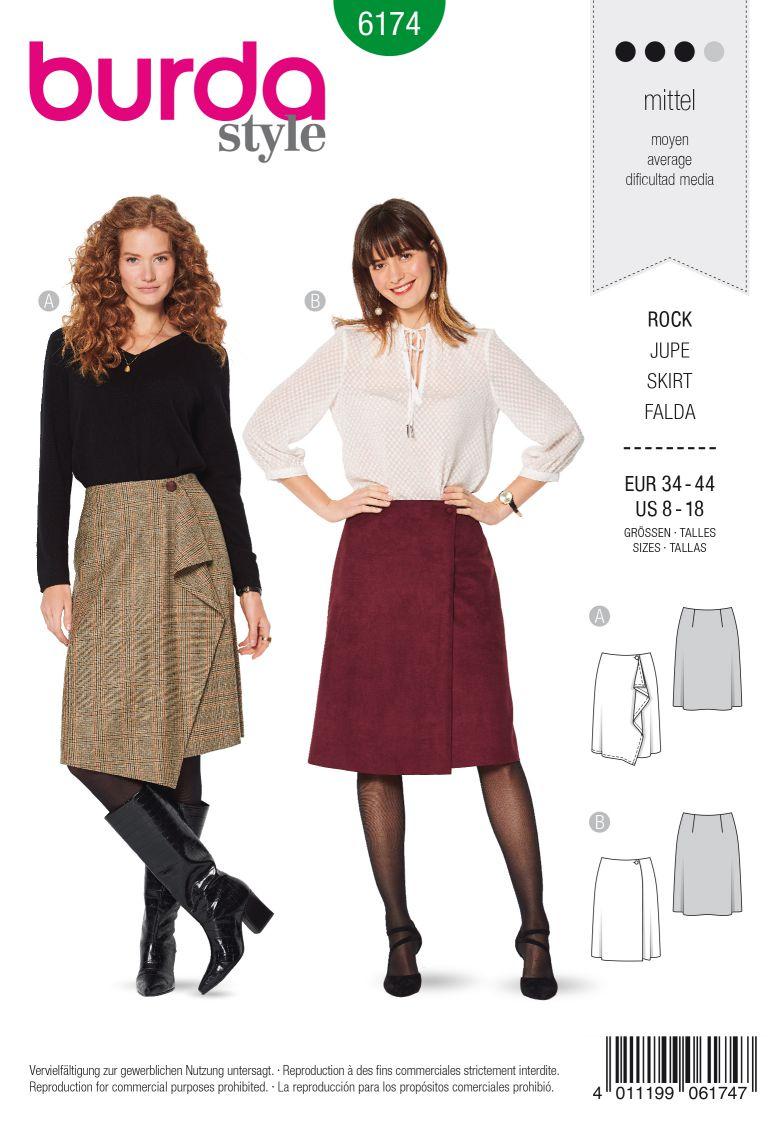 Burda 6174 AB Wrap skirt – Flared