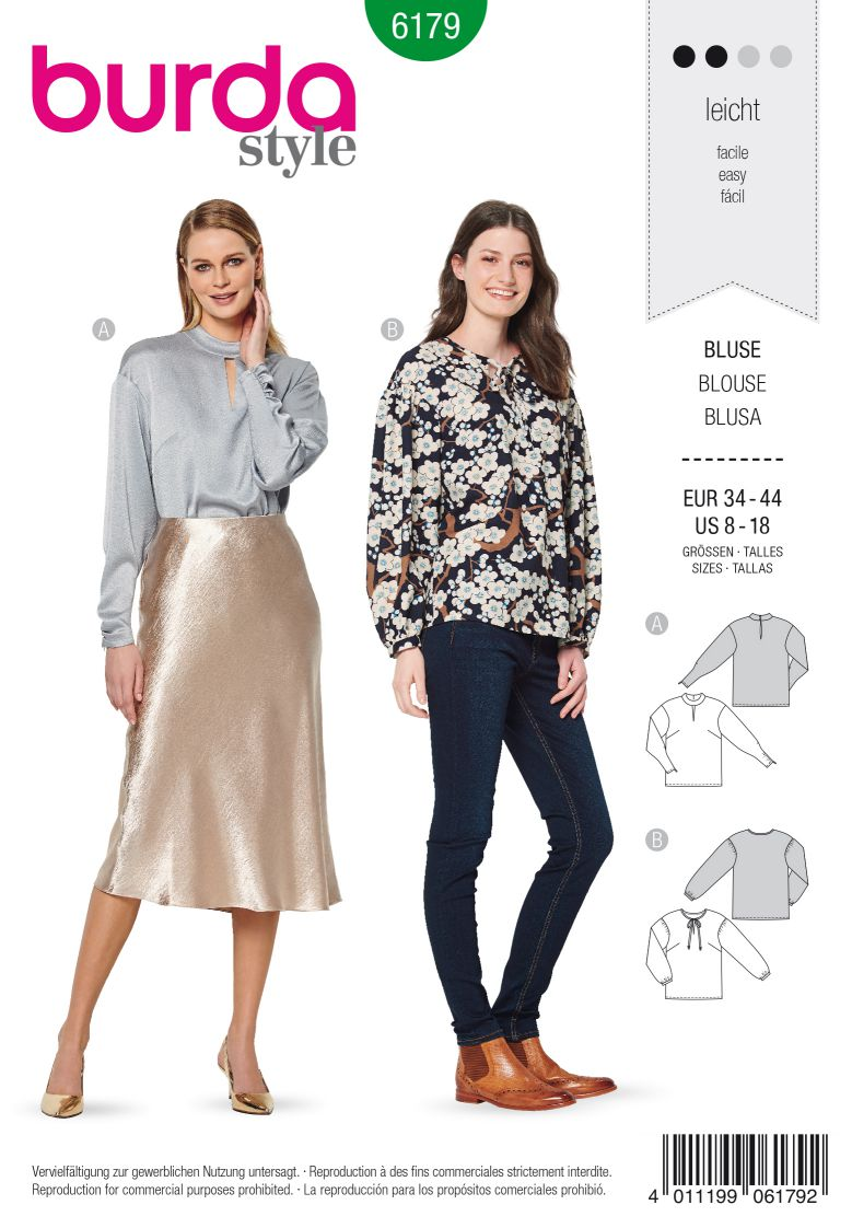 Burda 6179 AB Blouse, no fastening – with stand collar or binding at neckline