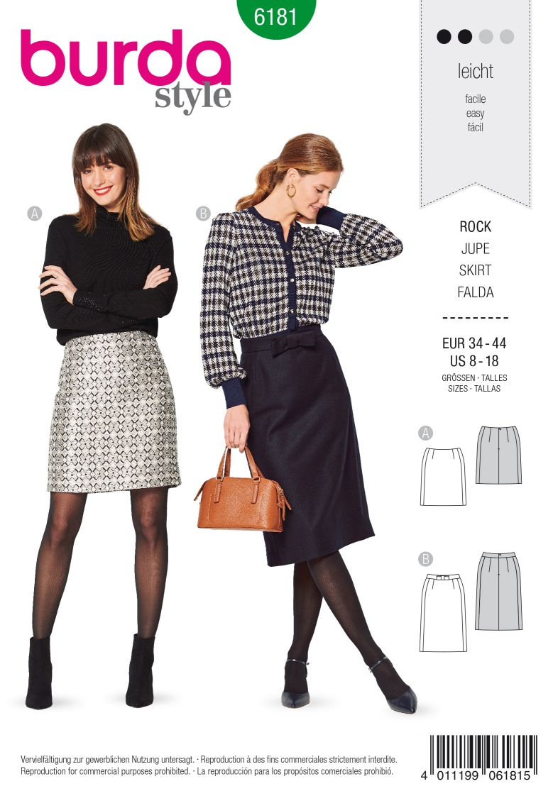 Burda 6181 AB Skirt – Slightly flared – Side panel seams
