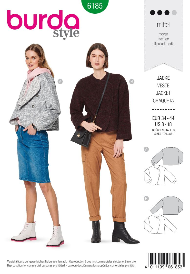 Burda 6185 AB Jacket – Cropped – Side fastening