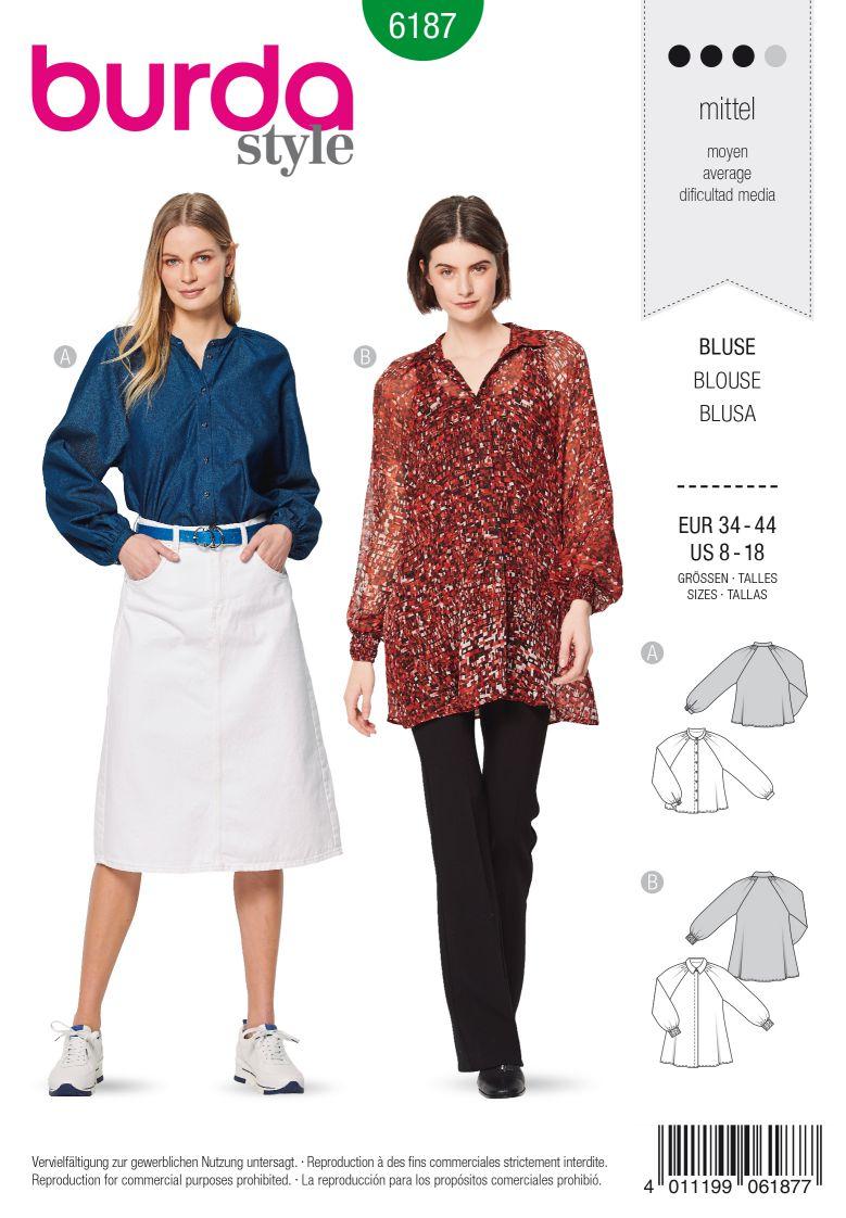 Burda 6187 AB Blouse  – Raglan Sleeves – A-Line