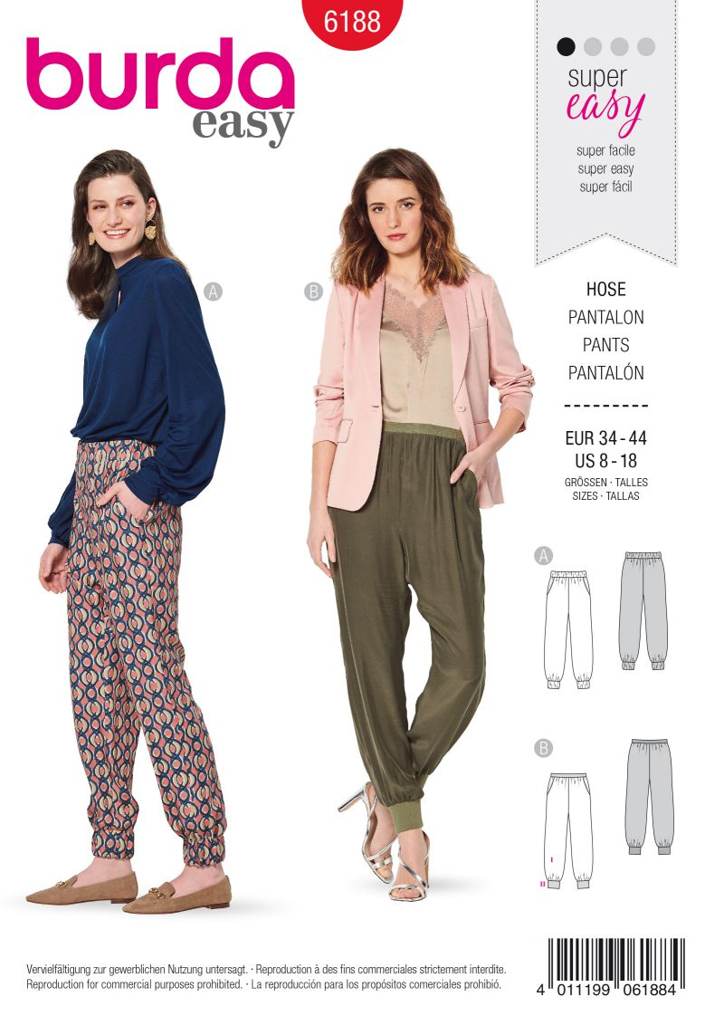 Burda 6188 AB Trousers/pants with stretch waistband – Leg bands