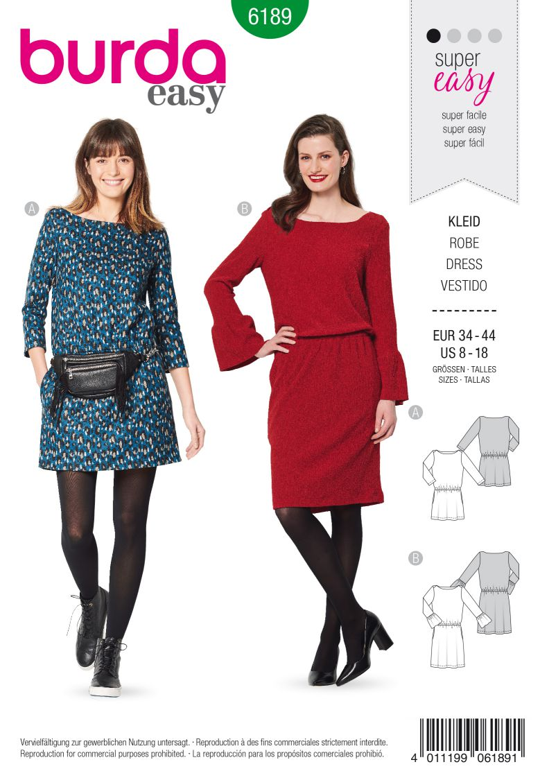 Burda 6189 AB Dress – Scooped neckline