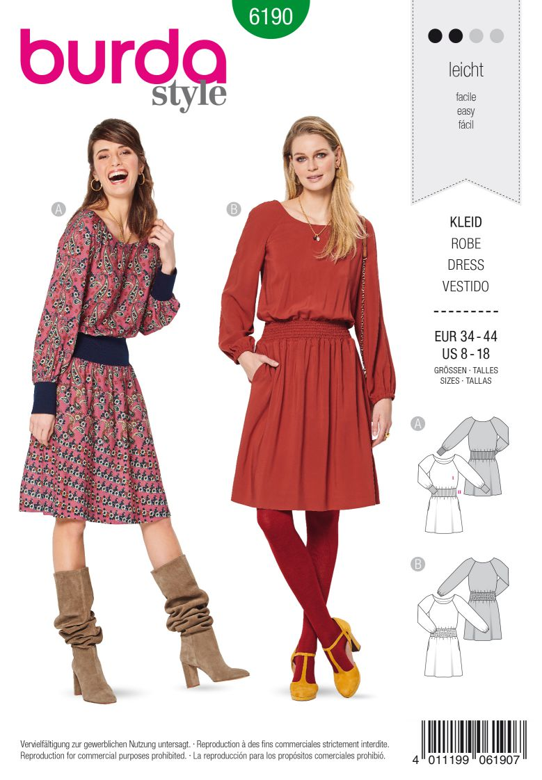 Burda 6190 AB Dress – Wide waistband, shirred waistband – Raglan sleeves