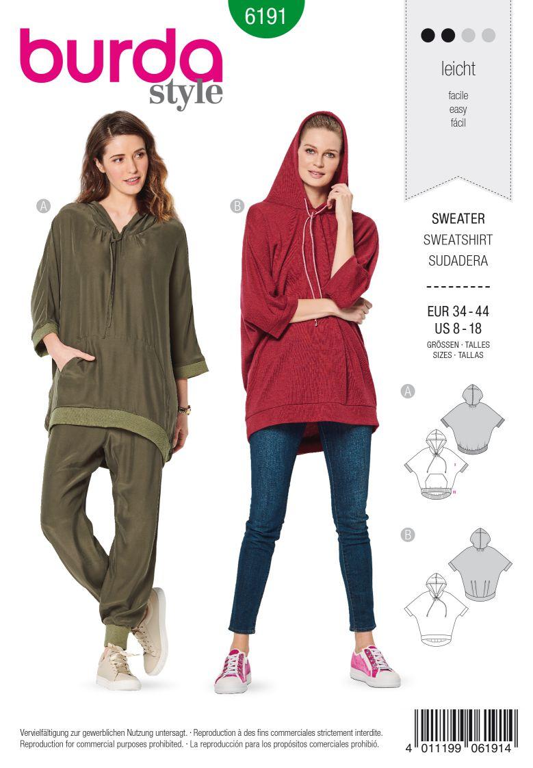 Burda 6191 AB Sweater with hood – Hoodie – Casual fit